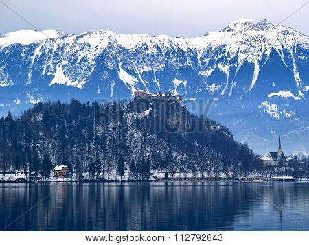 Dramatic view over Bled castle