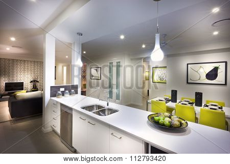 A Moody,stylish And Beautiful  Image Of A House With Kitchen And