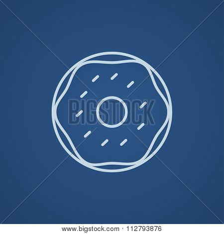 Doughnut line icon for web, mobile and infographics. Vector light blue icon isolated on blue background.