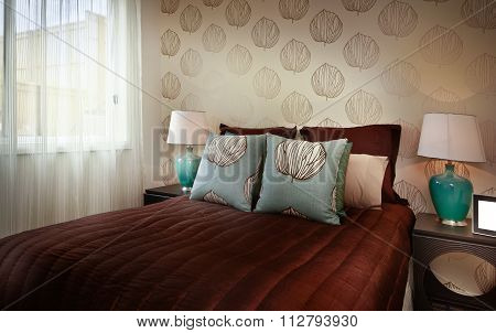 Beautiful Image Of A Bedroom With Red Romantic Bedsheet