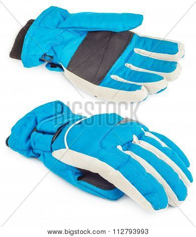 Winter Blue Ski Glove Isolated