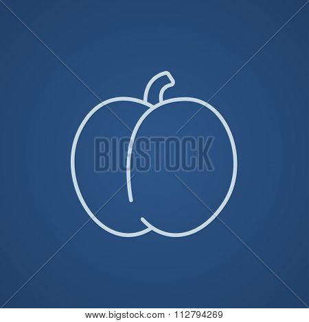 Plum with leaf line icon for web, mobile and infographics. Vector light blue icon isolated on blue background.