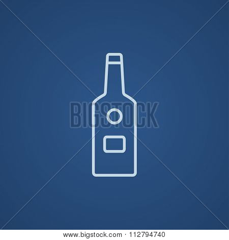 Glass bottle line icon for web, mobile and infographics. Vector light blue icon isolated on blue background.