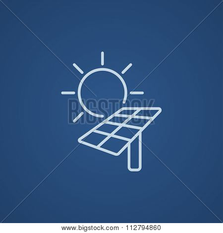 Sun with solar panel line icon for web, mobile and infographics. Vector light blue icon isolated on blue background.