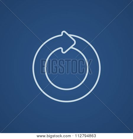 Circular arrow line icon for web, mobile and infographics. Vector light blue icon isolated on blue background.