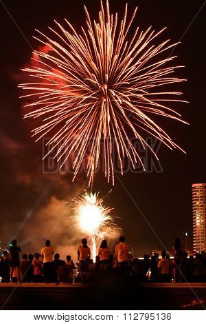 Fireworks In Chao Phaya River On Loy Kratong Festival.