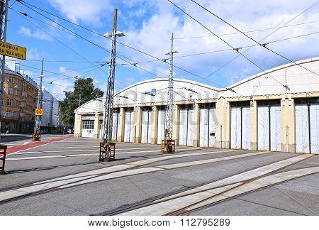 Tram Depot In Helsinki