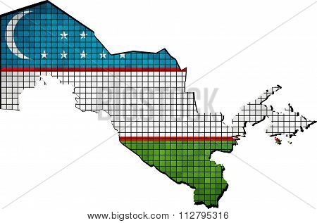 Uzbekistan Map With Flag Inside.eps
