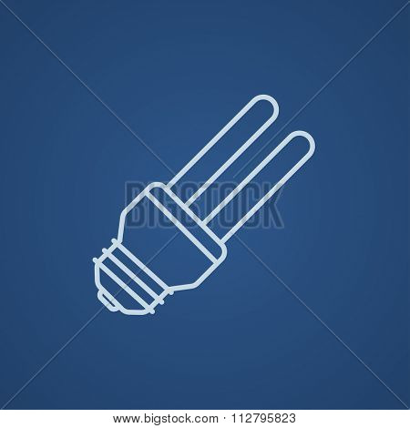 Energy saving light bulb line icon for web, mobile and infographics. Vector light blue icon isolated on blue background.