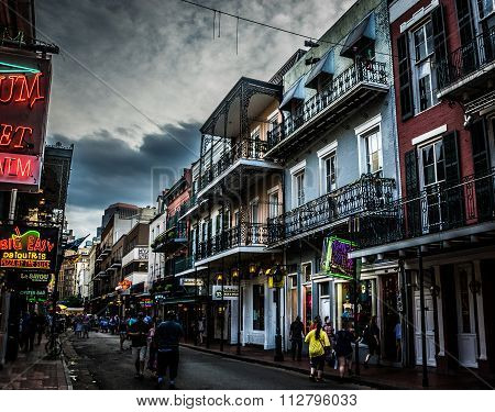 New Orleans French Quarter - Bourbon Street At Dusk