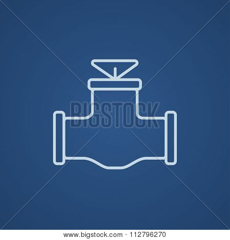 Gas pipe valve line icon for web, mobile and infographics. Vector light blue icon isolated on blue background.