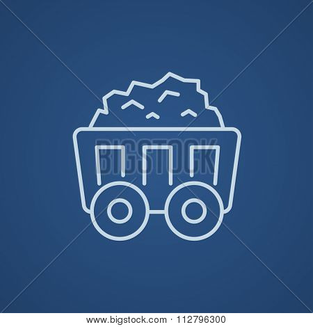 Mining coal cart line icon for web, mobile and infographics. Vector light blue icon isolated on blue background.