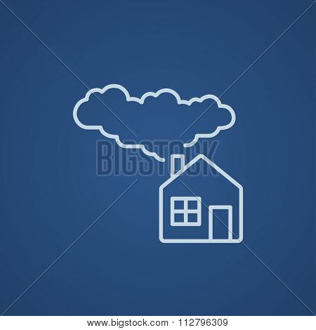 House with a chimney and smoke line icon for web, mobile and infographics. Vector light blue icon isolated on blue background.