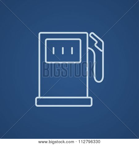 Gas station line icon for web, mobile and infographics. Vector light blue icon isolated on blue background.