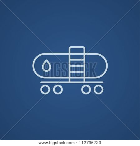 Oil tank line icon for web, mobile and infographics. Vector light blue icon isolated on blue background.