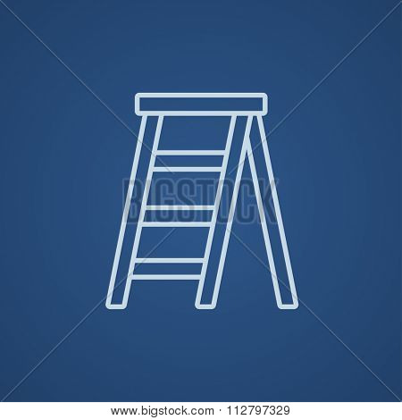 Stepladder line icon for web, mobile and infographics. Vector light blue icon isolated on blue background.