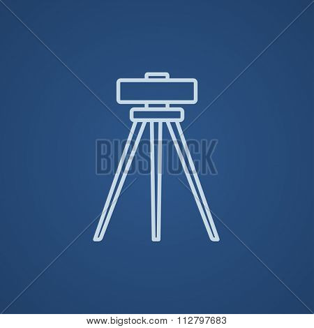 Theodolite on tripod line icon for web, mobile and infographics. Vector light blue icon isolated on blue background.