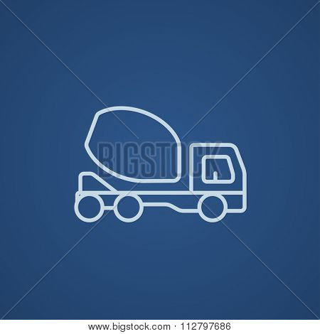 Concrete mixer truck line icon for web, mobile and infographics. Vector light blue icon isolated on blue background.