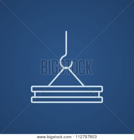 Crane hook holding concrete slab line icon for web, mobile and infographics. Vector light blue icon isolated on blue background.