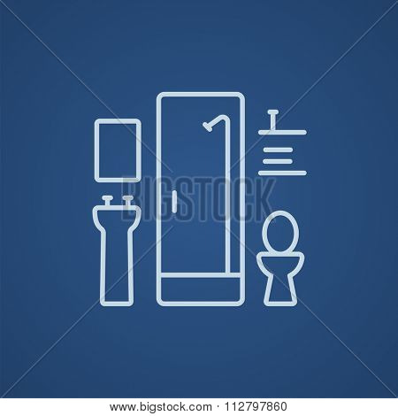 Bathroom line icon for web, mobile and infographics. Vector light blue icon isolated on blue background.