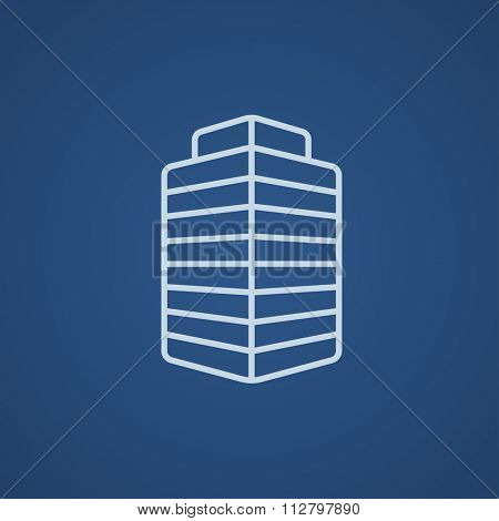 Office building line icon for web, mobile and infographics. Vector light blue icon isolated on blue background.
