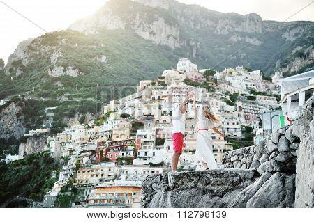 Young Beautiful Couple Dancing In Positano, Amalfi Coast, Italy