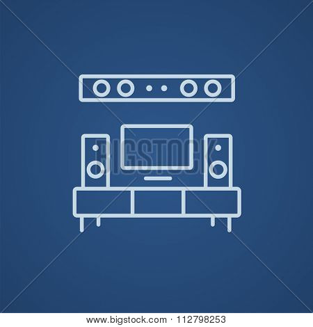 TV flat screen and home theater line icon for web, mobile and infographics. Vector light blue icon isolated on blue background.