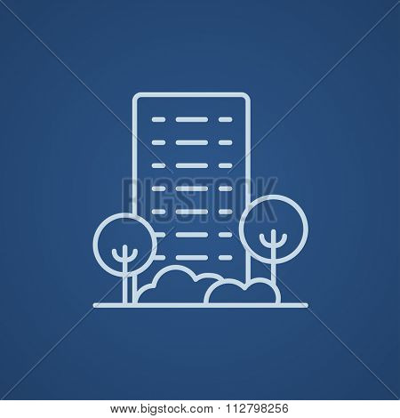 Residential building with trees line icon for web, mobile and infographics. Vector light blue icon isolated on blue background.