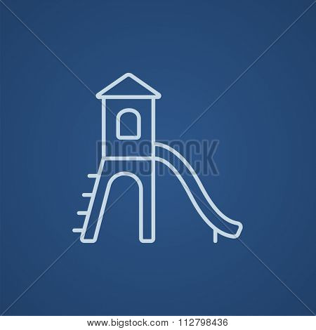 Playground with slide line icon for web, mobile and infographics. Vector light blue icon isolated on blue background.