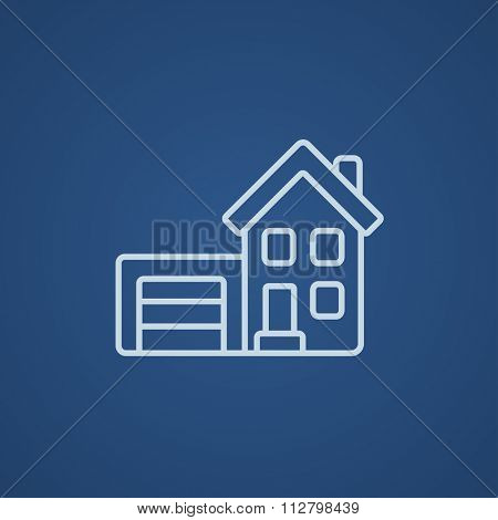 House with garage line icon for web, mobile and infographics. Vector light blue icon isolated on blue background.