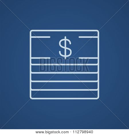 Stack of dollar bills line icon for web, mobile and infographics. Vector light blue icon isolated on blue background.