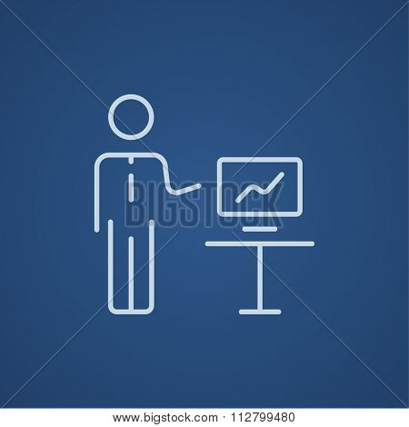 A man presenting his report through infographic line icon for web, mobile and infographics. Vector light blue icon isolated on blue background.