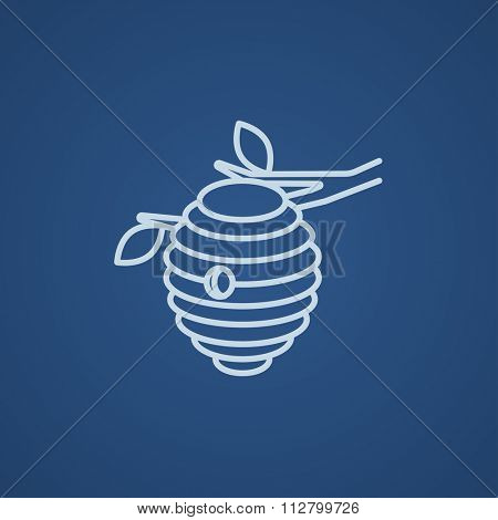 Bee hive line icon for web, mobile and infographics. Vector light blue icon isolated on blue background.