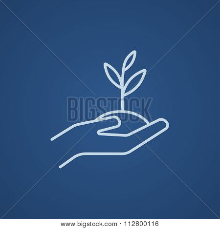 Hands holding seedling in soil line icon for web, mobile and infographics. Vector light blue icon isolated on blue background.