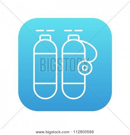 Oxygen tank line icon for web, mobile and infographics. Vector white icon isolated on red background.