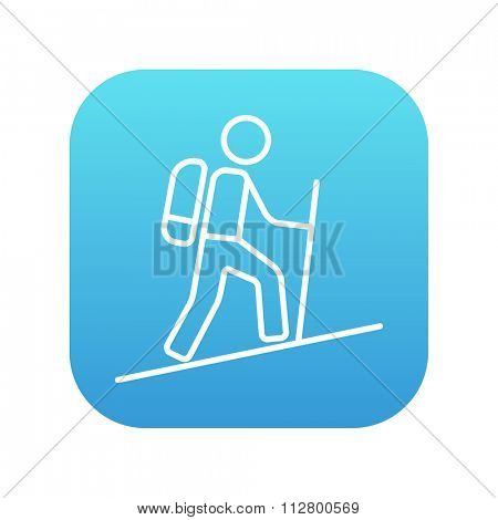 Tourist backpacker line icon for web, mobile and infographics. Vector white icon on the blue gradient square with rounded corners isolated on white background.