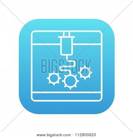 3D printing line icon for web, mobile and infographics. Vector white icon on the blue gradient square with rounded corners isolated on white background.