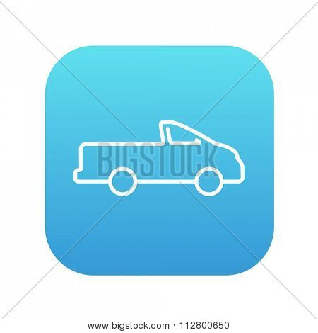 Pick up truck line icon for web, mobile and infographics. Vector white icon on the blue gradient square with rounded corners isolated on white background.