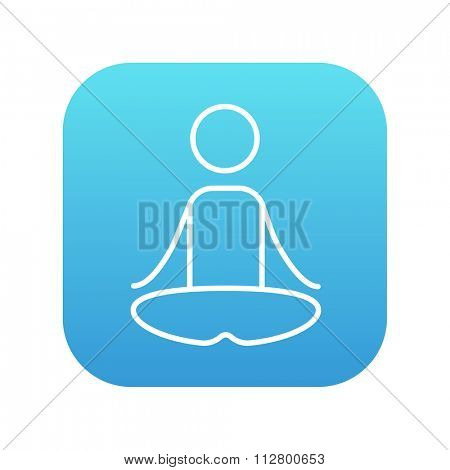 A man meditating in lotus pose line icon for web, mobile and infographics. Vector white icon on the blue gradient square with rounded corners isolated on white background.