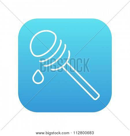 Honey dipper line icon for web, mobile and infographics. Vector white icon on the blue gradient square with rounded corners isolated on white background.