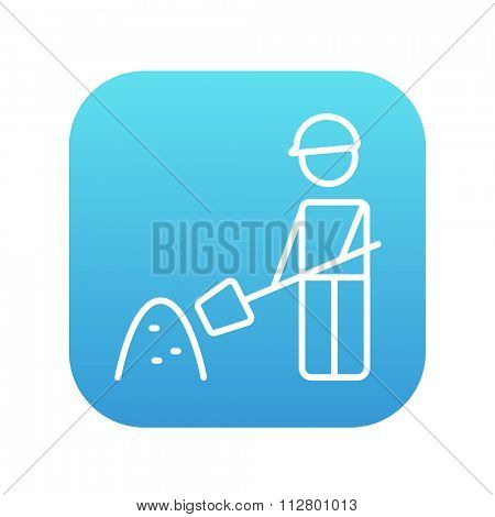 Man with shovel and hill of sand line icon for web, mobile and infographics. Vector white icon on the blue gradient square with rounded corners isolated on white background.