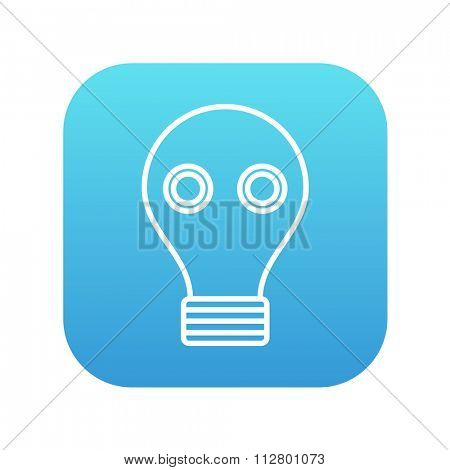 Gas mask line icon for web, mobile and infographics. Vector white icon on the blue gradient square with rounded corners isolated on white background.