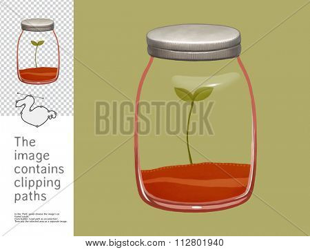 The illustration of a glass jar with a plant inside.  A part of Dodo collection - a set of educational cards for children. The image has clipping paths and you can cut the image from the background.