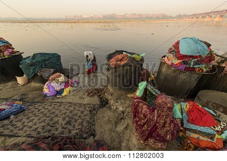 Dhobi Ghat is a well known open air laundromat in Yamuna River Agra