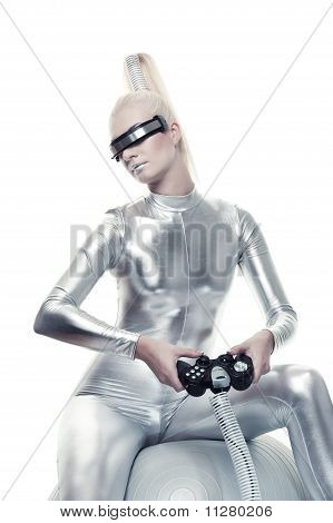 Beautiful cyber woman playing a video game