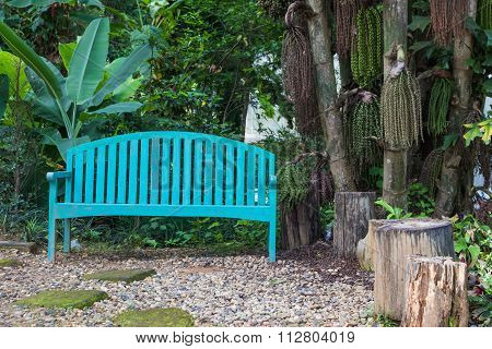 Blue Wood Bench