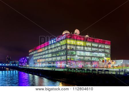 BBC Scotland TV studios at Night