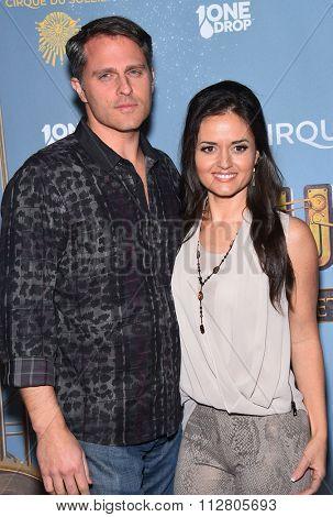 LOS ANGELES - DEC 09:  Danica McKellar & Scott Sveslosky arrives to the Cirque du Soleil's