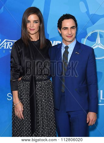 LOS ANGELES - NOV 19:  Katie Holmes & Zac Posen arrives to the Inaugural Variety and WWD StyleMakers Event  on November 19, 2015 in Culver City, CA.
