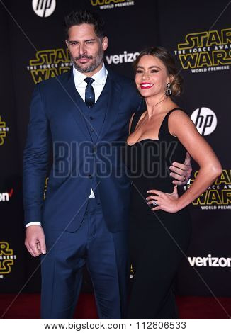 LOS ANGELES - DEC 14:  Joe Manganiello & Sofia Vergara arrives to the